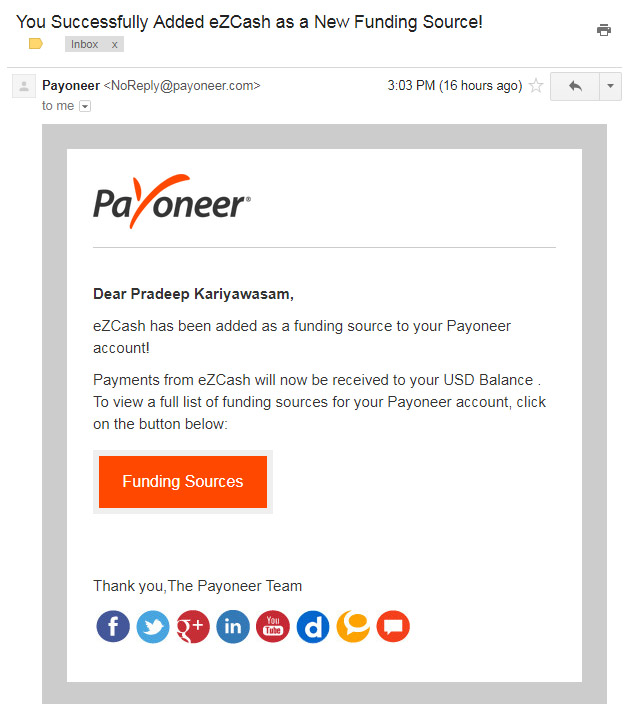 Dialog eZCash as a funding source in Payoneer account - Sri Lanka