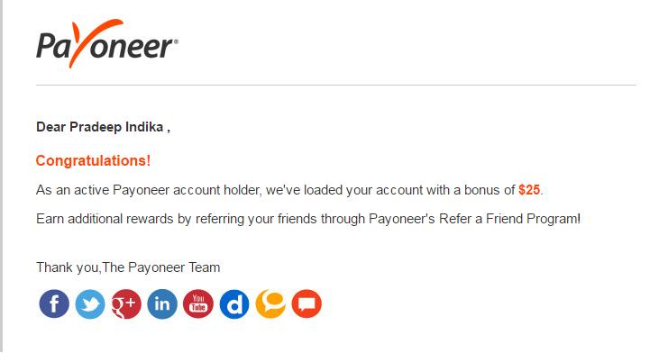 free 25 $ payoneer Sri Lanka